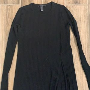 Black duster sweater with slit